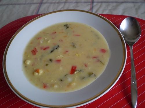 Vločková smetanová polévka se zeleninou
